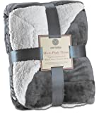 "Genteele Super Soft Luxurious Sherpa Throw Blanket, 60"" X 70"", Gray"