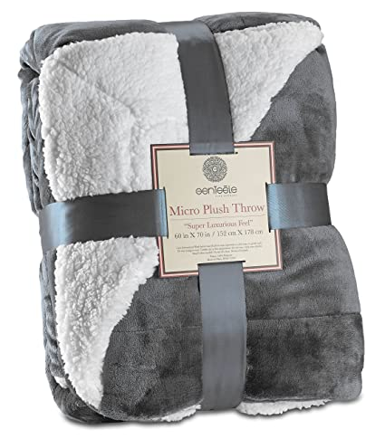 Genteele Sherpa Throw Blanket Super Soft Reversible Ultra Luxurious Plush Blanket (50 inches x 60 inches, Gray) best gifts for grandmas