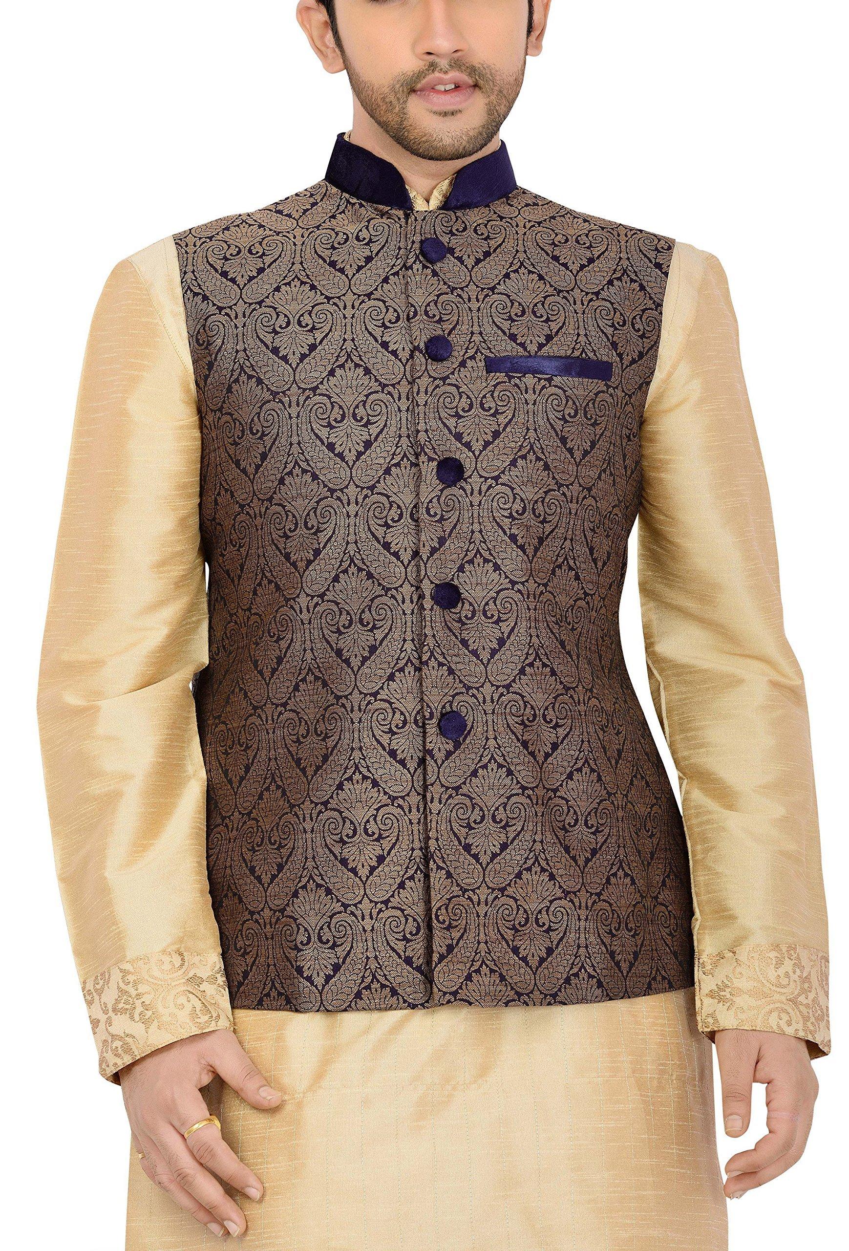 Manyavar Men's Nehru Jacket Large Blue