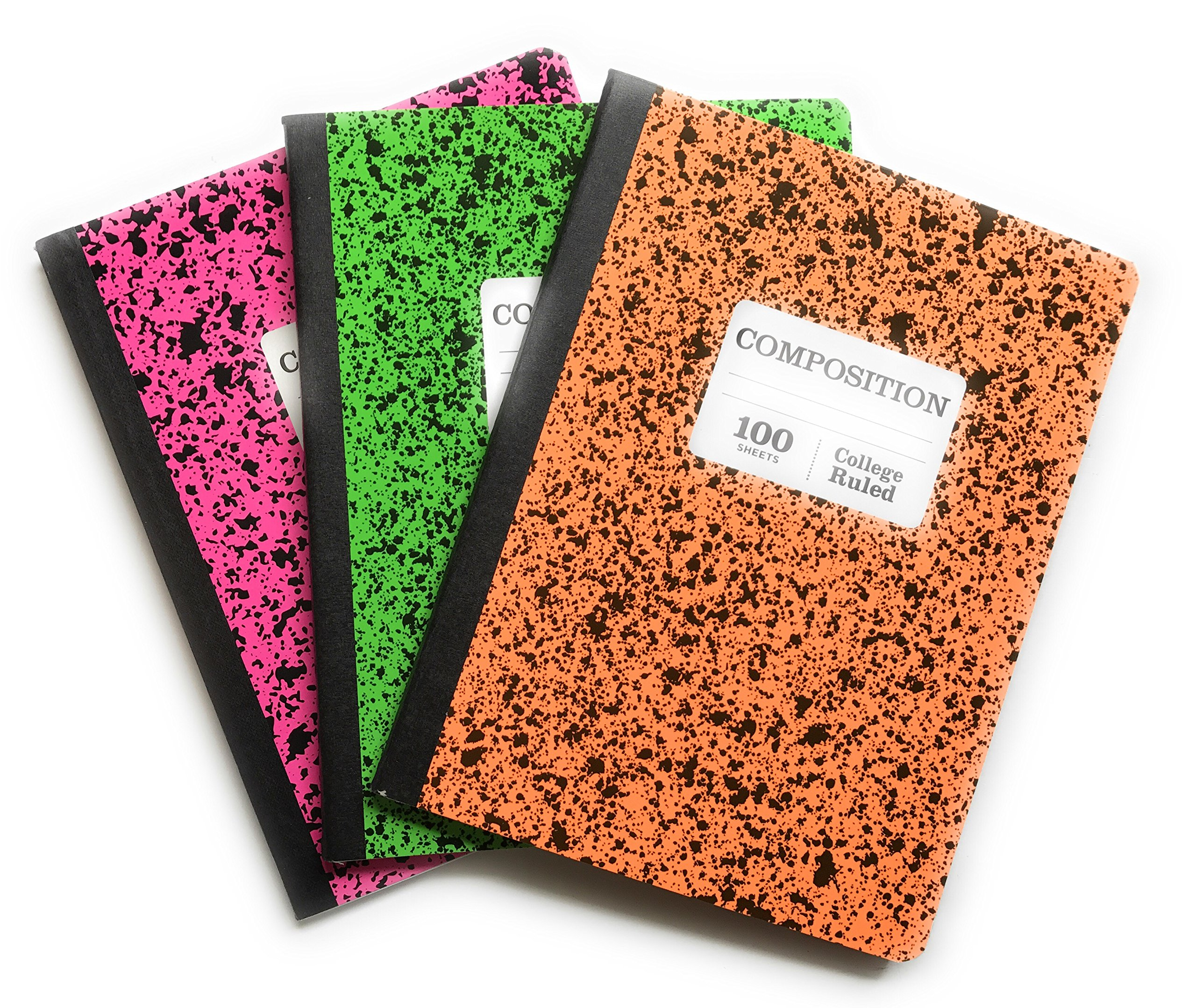 Norcom Composition Notebooks Pink, Green, Orange ''Wide Ruled'' Bundle Pack of 3 (1 of each Color)