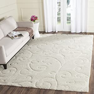 "Safavieh Florida Shag Collection SG455-1111 Scrolling Vine Cream Graceful Swirl Area Rug (9'6"" x 13')"