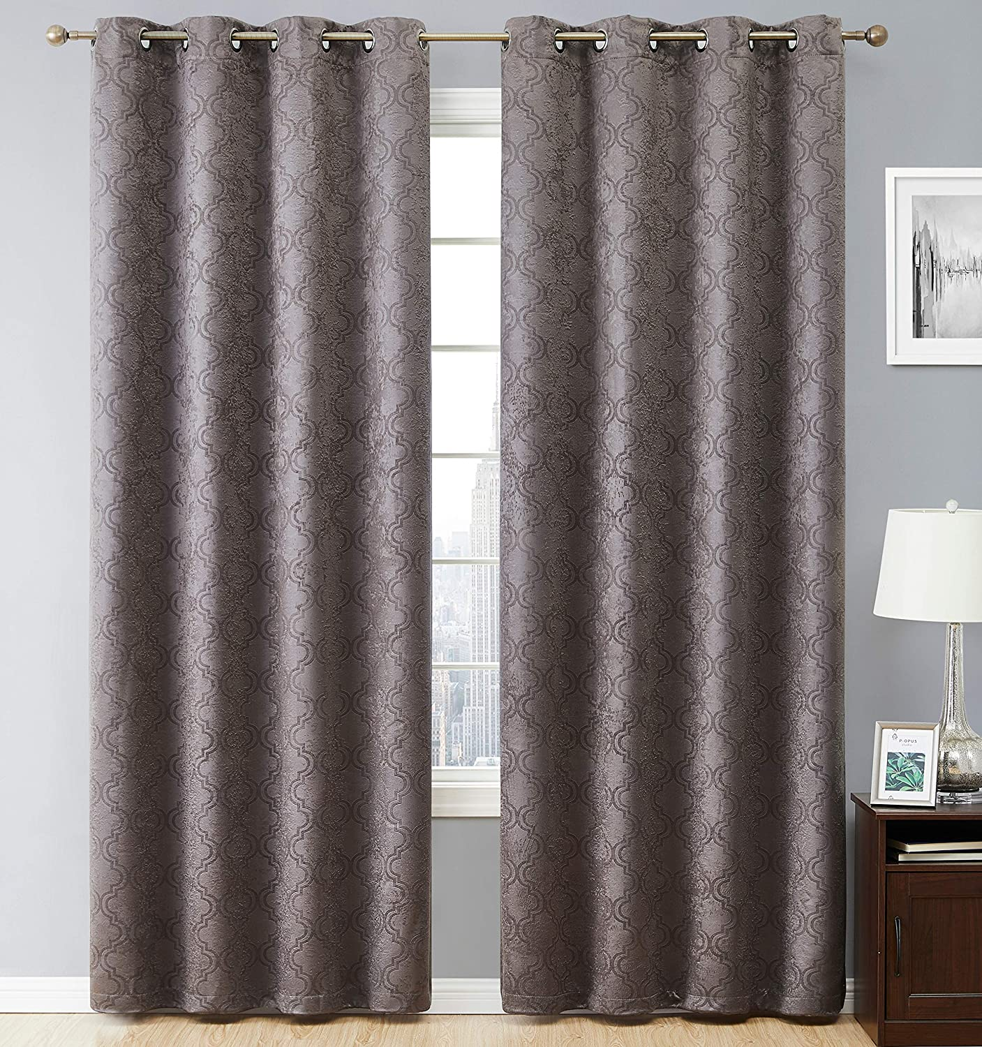 Amazon Com Hlc Me Redmont Lattice Geometric Thermal Insulated Energy Efficient Room Darkening Privacy Blackout Grommet Long Curtain Panels For Bedroom Set Of 2 Panels 52 X 96 Inches Length Dark Grey Home