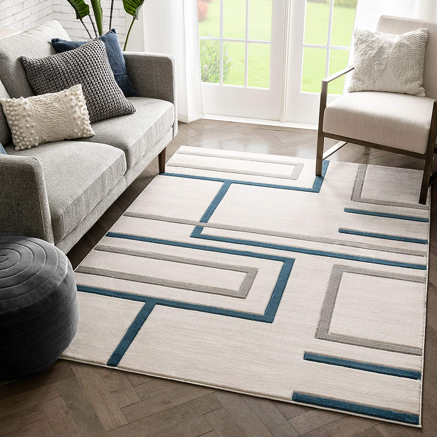 Amazon Com Well Woven Fiora Blue Modern Geometric Stripes Boxes Pattern Area Rug 5x7 5 3 X 7 3 Home Kitchen