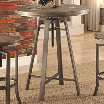 Amazoncom Coaster Industrial Round Bar Table With Swivel - Adjustable height table mechanism
