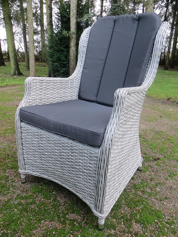 Luxus Alu Diningsessel Bathala Ash Grey, Polyrattan Geflecht mit Sitz- und Rückenkissen