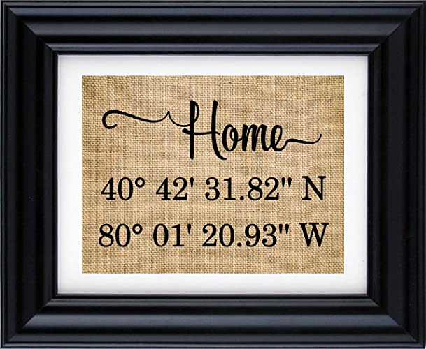 home latitude longitude burlap print gps coordinates home sign our