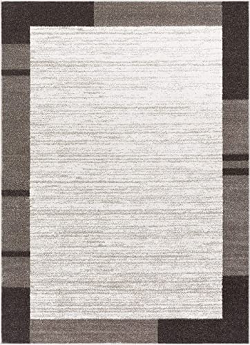 Well Woven Cambio Border Ivory Geometric Modern Gradient Field Area Rug 5×7 5'3″ x 7'3″ Carpet