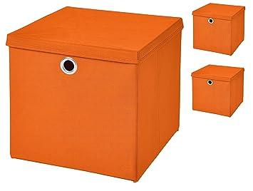 3 unidades de cajas plegables de almacenamiento con tapa de color naranja, 28 x 28 x 28 cm: Amazon.es: Hogar