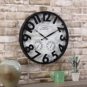 FirsTime & Co. Sherwood Shiplap Farmhouse Outdoor Clock, American Crafted, Oil Rubbed Bronze, 18 x 2 x 18 ,