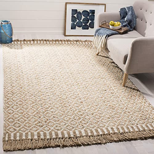 Safavieh Natural Fiber Collection NF182A Hand-Woven Natural and Ivory Jute Area Rug 4' x 6'