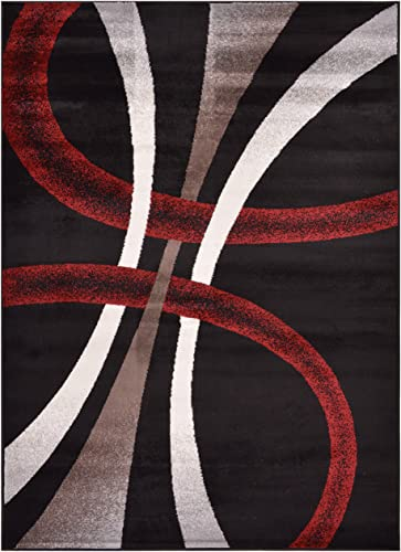 Rug Styles Stripes Geometric Black Cappuccino Area Rugs, 4 11 x 6 11 ,