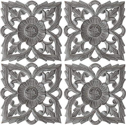 Set of 4 Antique Grey 8″ Solaris Twenty-Two Wall Art