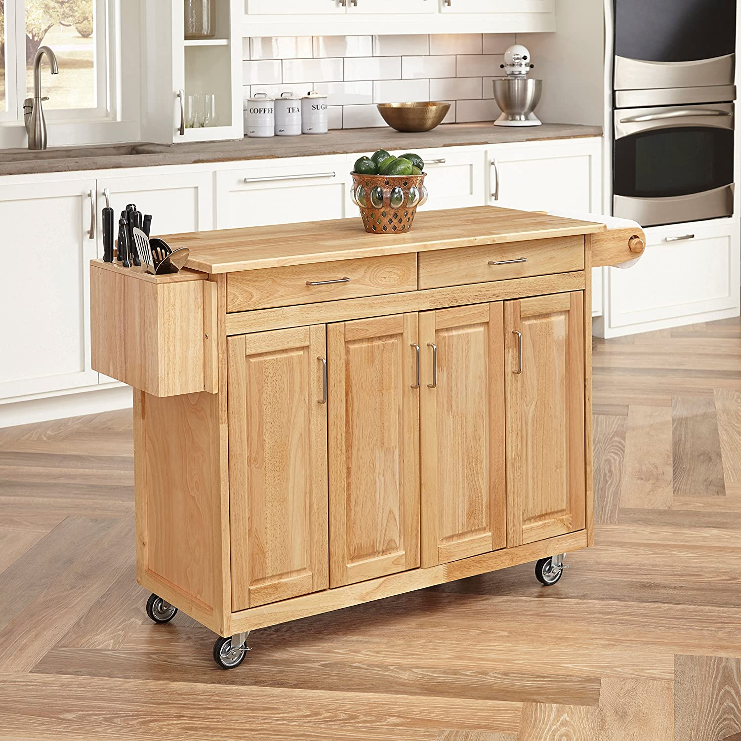 Home Styles 5023-95 Wood Top Kitchen Cart with Breakfast Bar, Natural Finish