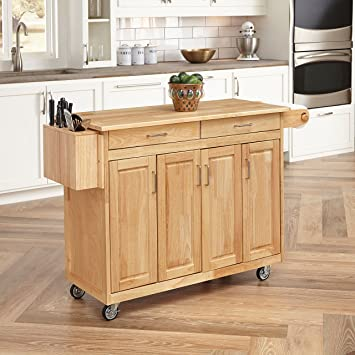 home styles 5023 95 wood top kitchen cart with breakfast bar natural finish amazon com  home styles 5023 95 wood top kitchen cart with      rh   amazon com