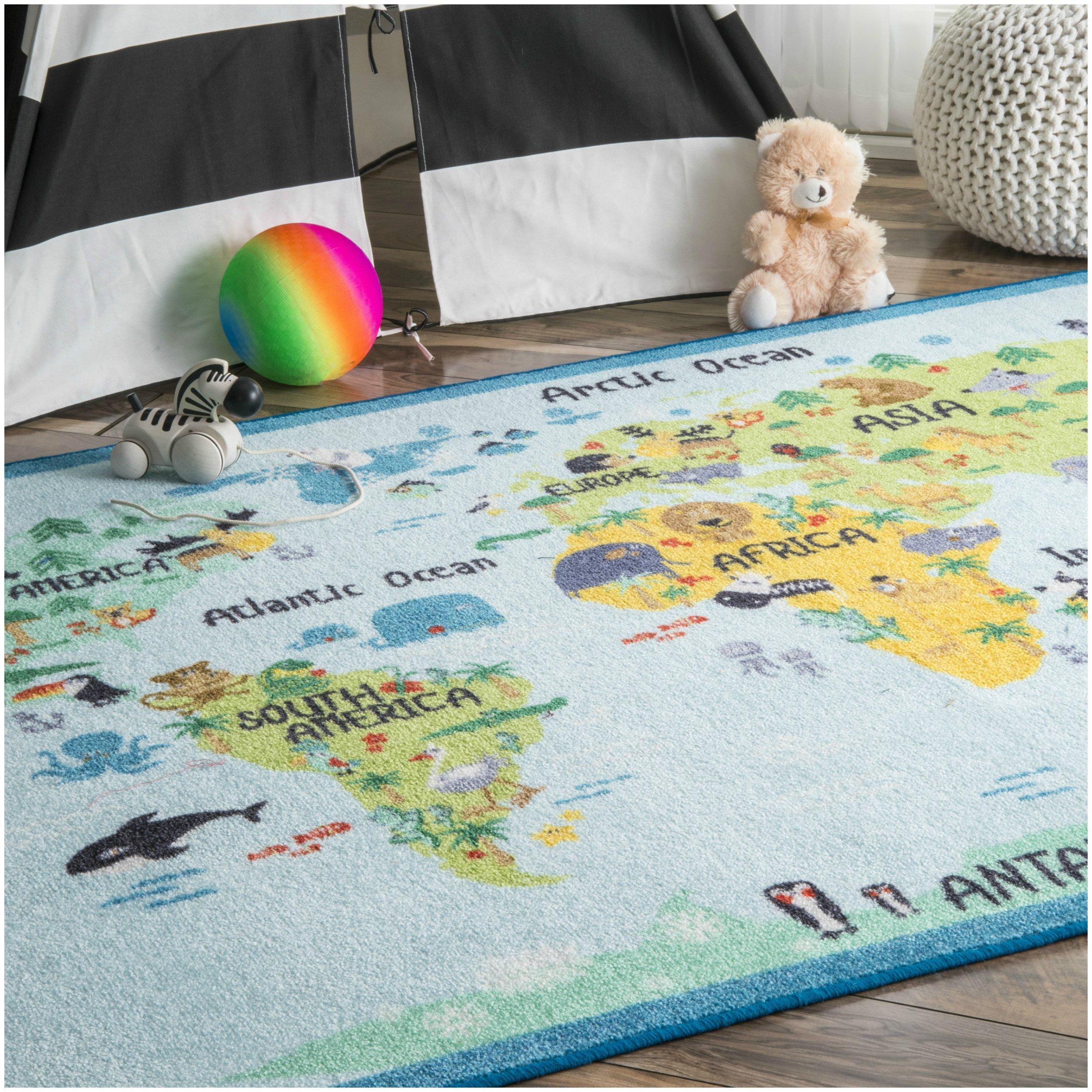 nuLOOM Nursery Animal World Kids Area Rugs, 3' 3'' x 5', Baby Blue