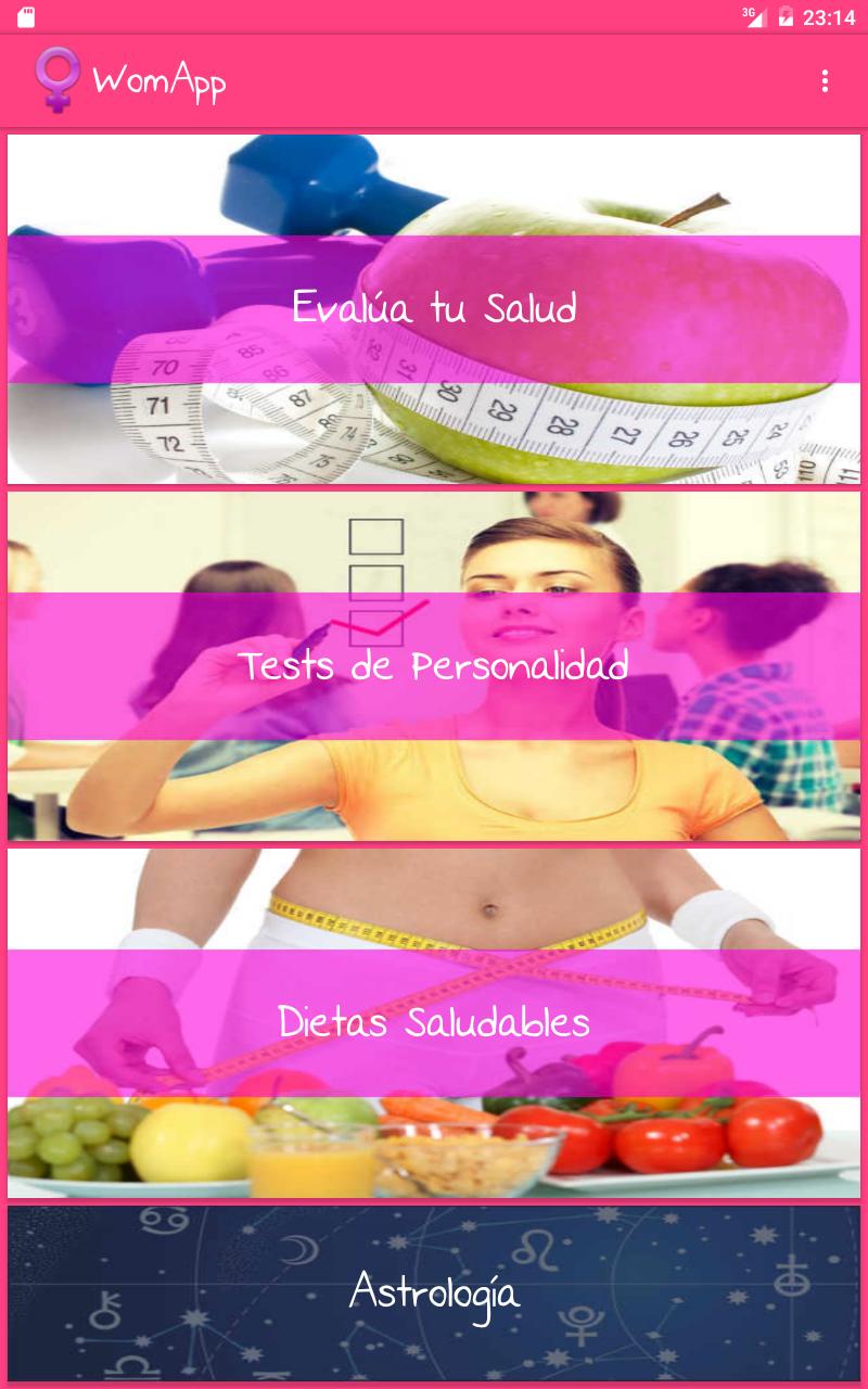 WomApp. Dietas. Tests de personalidad. Herramientas de salud ...