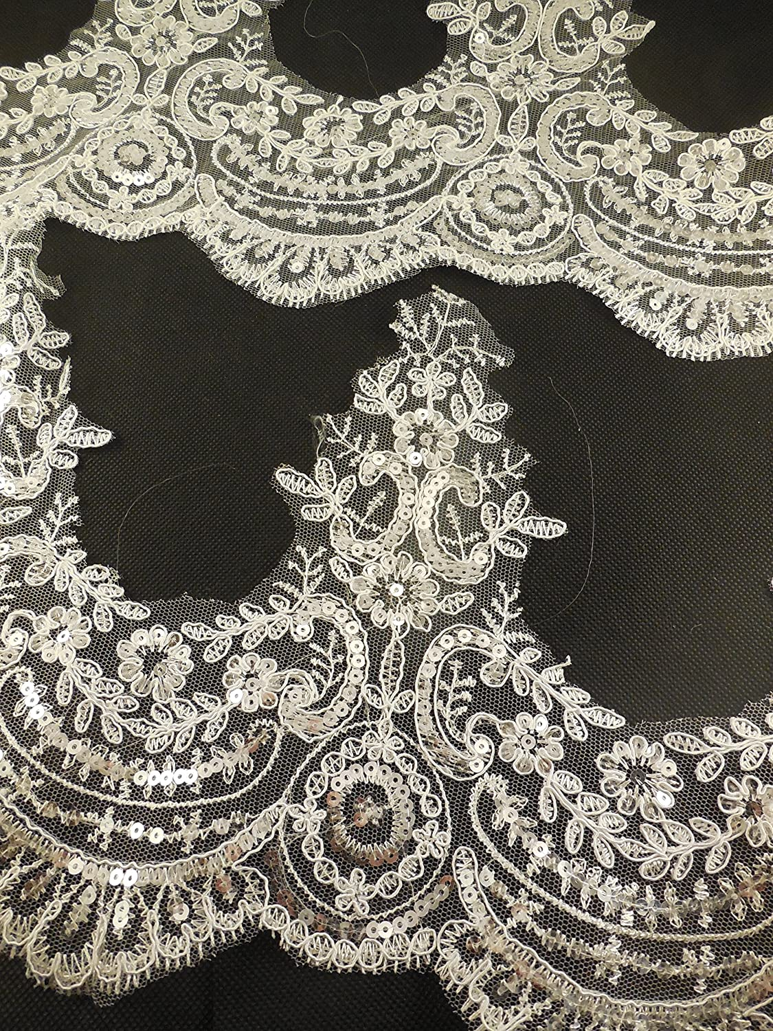 XL13b ivory Craftuneed white or ivory floral sequins eyelash lace trim Bridal wedding tulle sequined lace trim Per Yard 90cm FREE UK PP Fast Dispatch