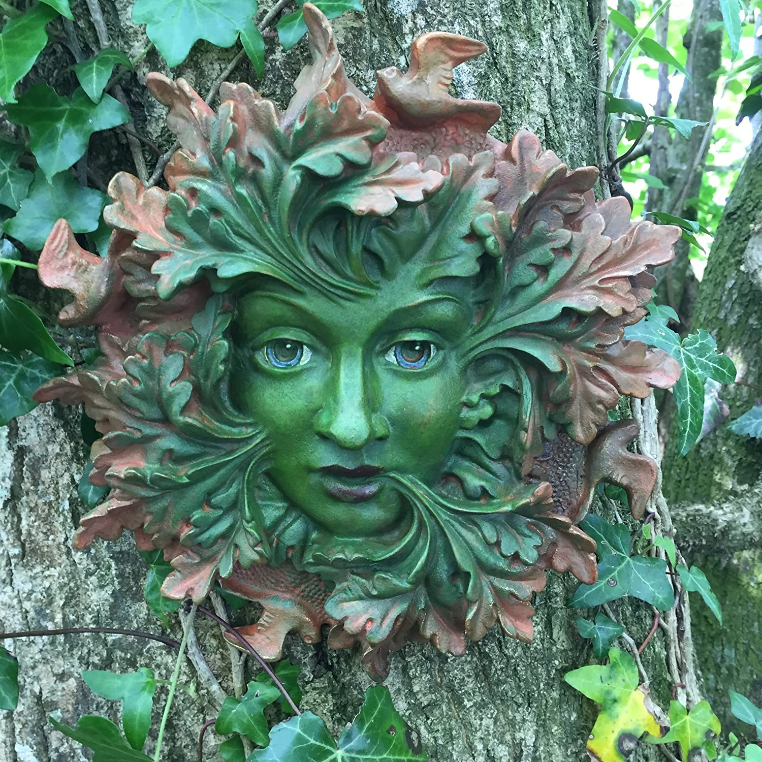 Green Spirit Large, Greenman Decorative Garden Wall Plaque. 23cm Fiesta Studios