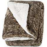 "Life Comfort Microfiber Plush Polyester 60"" x 70"" All Season Blanket for Bed or Couch Ultimate Sherpa Throw, Brown Quartz"