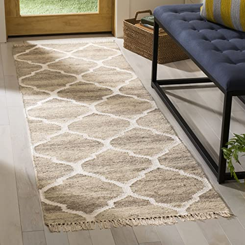 Safavieh Natural Kilim Collection NKM317A Flatweave Light Grey and Ivory Wool Runner 2 3 x 10