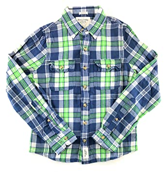 86686e17 Abercrombie & Fitch Mens Flannel Long Sleeve Shirt Green White Navy 0965  Small