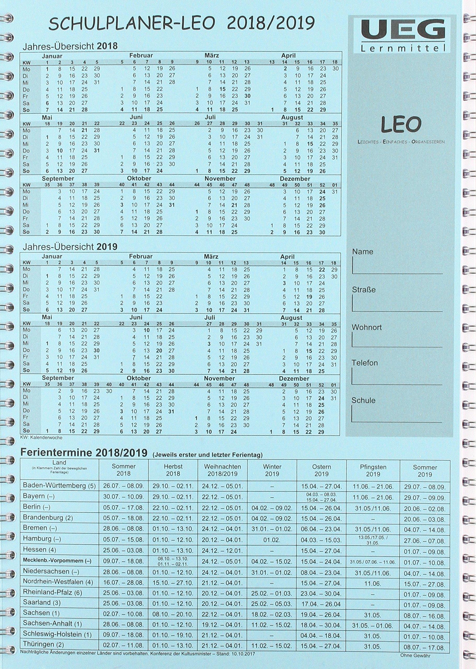 Lehrerkalender-Schulplaner LEO 2018-2019 DIN A4
