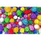 50 Craft Glitter Poms Fluffy Balls - Various Sizes Kids Arts Crafts Decorations