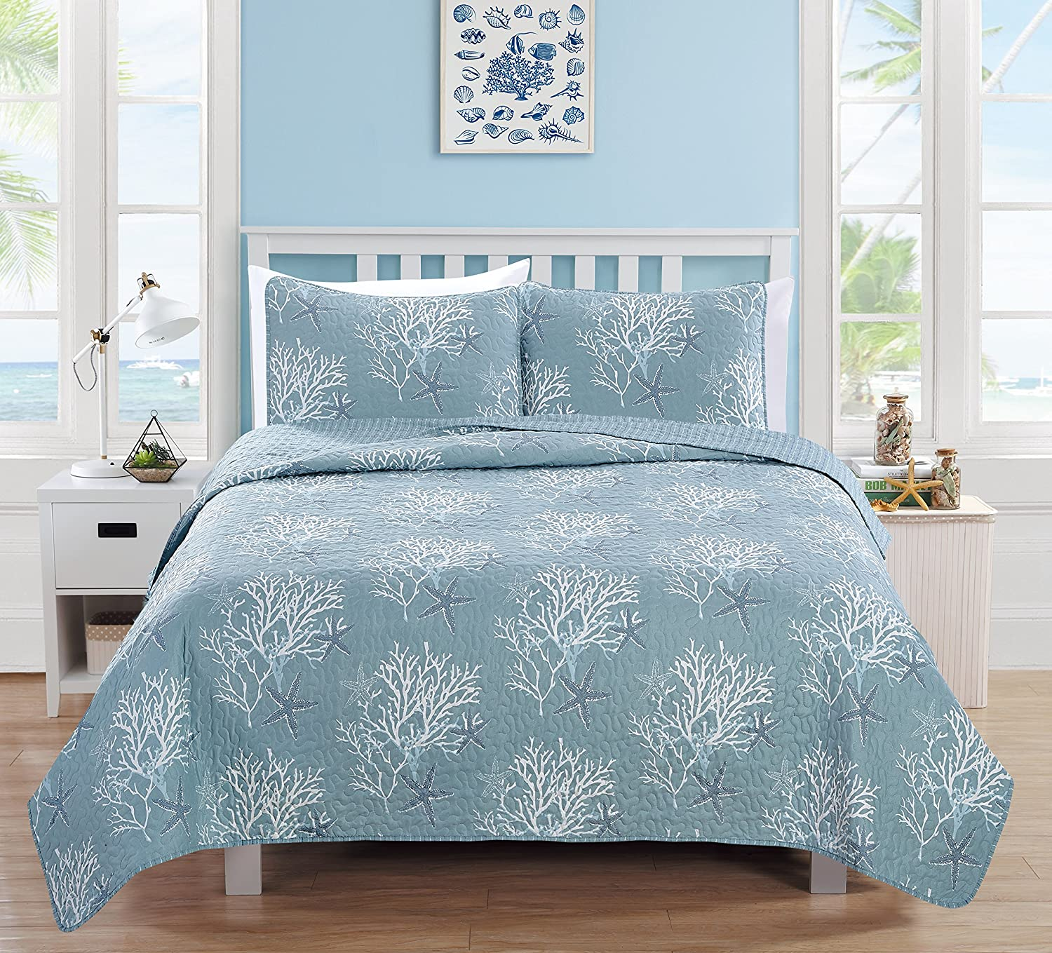 Home Fashion Designs 3-Piece Coastal Beach Theme Quilt Set with Shams. Soft All-Season Luxury Microfiber Reversible Bedspread and Coverlet. Fenwick Collection Brand. (Full/Queen, Ether Blue