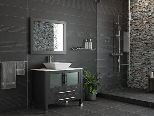 36 Inch Espresso Solid Wood Porcelain Single Vessel Sink Vanity Set- Canton Brushed Nickel Faucet