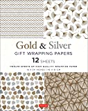 Gold & Silver Gift Wrapping Papers: 12 Sheets of High-Quality Wrapping Paper