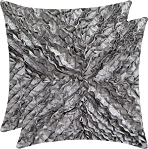 The White Petals Silver Grey Throw Pillow Cover - (18x18 inch)   Decorative, Washable Cushion Covers for Couch, Sofa, Bedroom, Living Room - Pack of 2