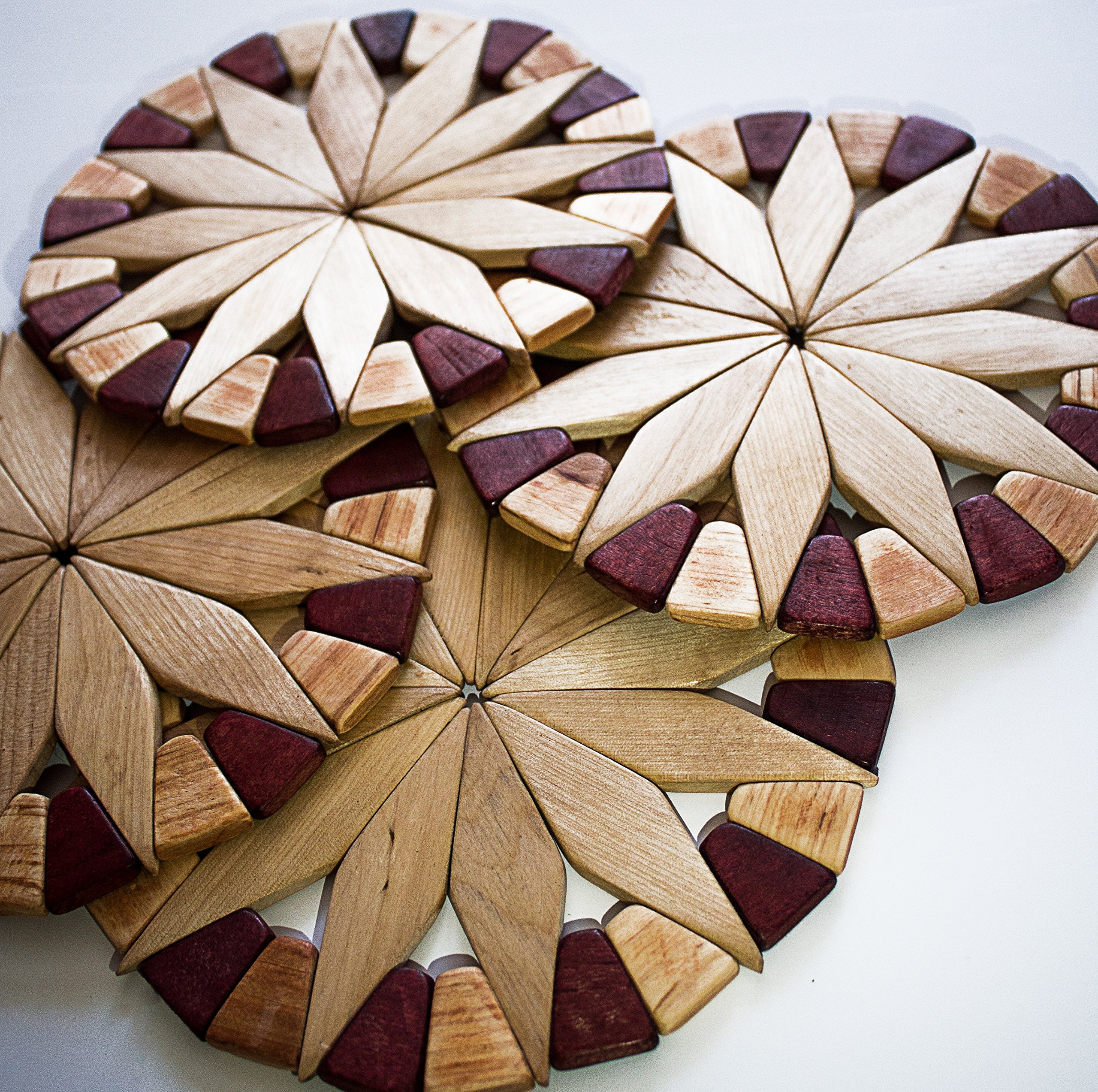 Natural Wood Trivets For Hot Dishes - 2 Eco-friendly, Sturdy and Durable 7'' Kitchen Hot Pads. Handmade Festive Design Table Decor - Perfect Kitchen Gifts Idea. by ECOSALL (Image #5)