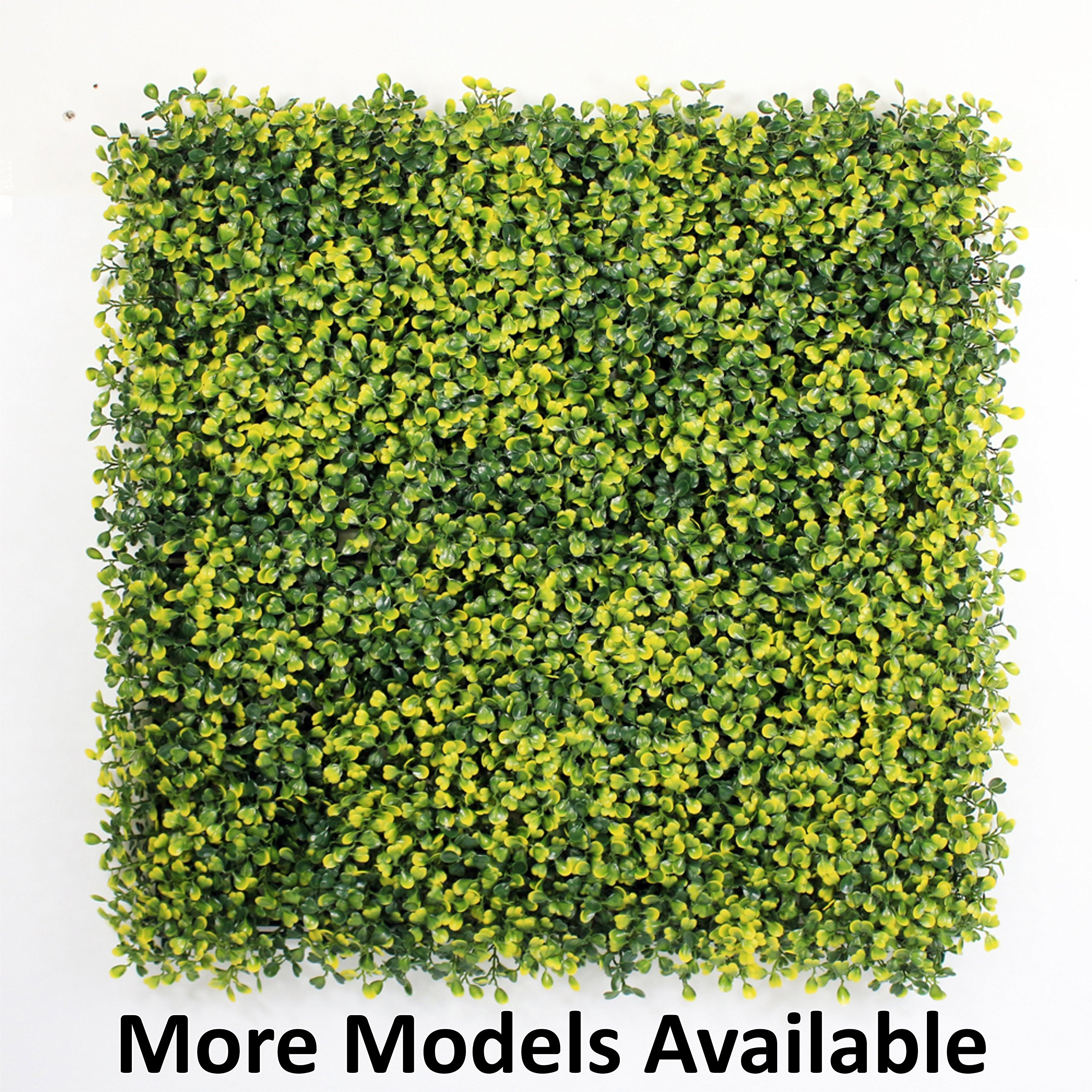 GENPAR - Artificial Hedge BOXWOOD, covers 33 SQ feet, adds protection, privacy fences, box consist of 12 packs (20'' x 20'') UV PROTECTION, INSTALL DIY. 15 YEARS life span. (A001-YELLOW)
