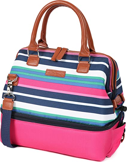 Arctic Zone 44-66079-00-08 Thermal Insulated Lunch Tote, 2 Compartments, Preppy Stripes - Pink
