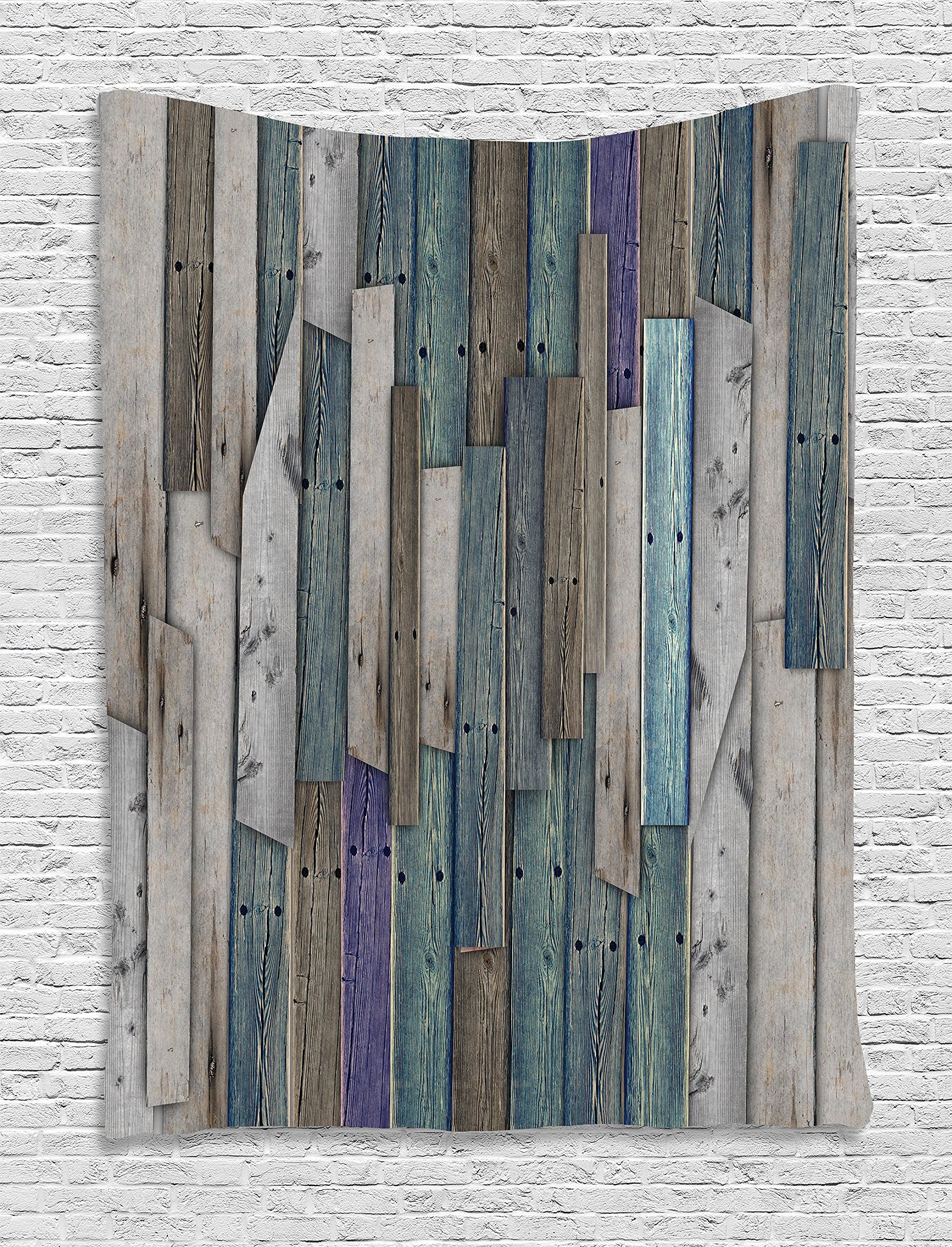 Ambesonne Wooden Wall Hanging Tapestry, Blue Grey Grunge Rustic Planks Barn House Wood Nails Lodge Hardwood Graphic Print, Bedroom Living Room Dorm Decor, 40 W x 60 L inches, Teal Purple Grey