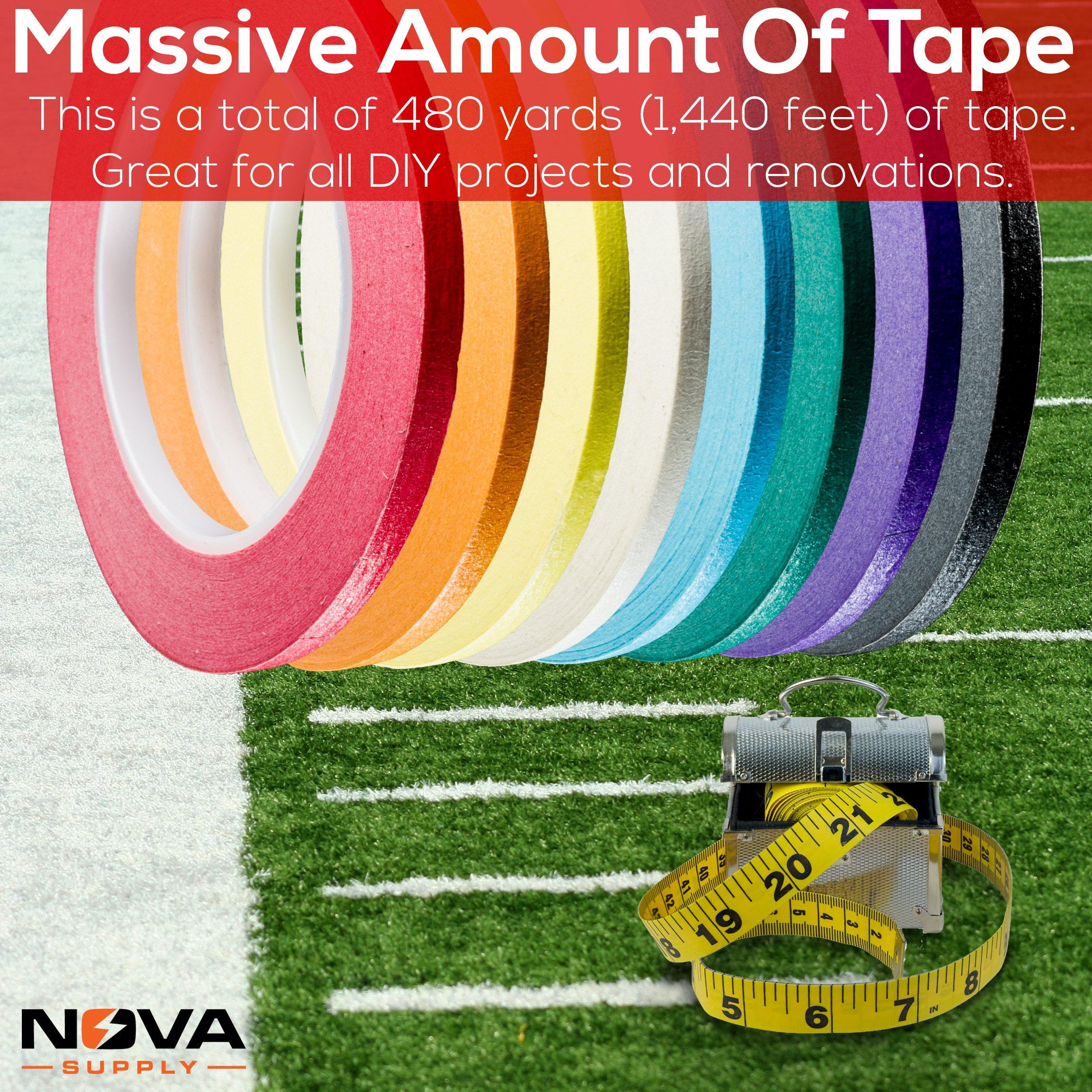 Nova Supplys 1/4in x 60yd Masking Tape, 8 Color Value Pack. Professional Grade Adhesive is Super Thin, Conforms to Irregular Surfaces, Is Easy to Tear & Release for Labeling, Painting, & Decorating. by Nova (Image #7)