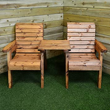 Awe Inspiring Charles Taylor Trading Hand Made 2 Seater Chunky Rustic Wooden Garden Furniture Companion Love Seat Home Interior And Landscaping Ologienasavecom