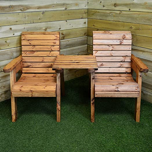 hand made 2 seater chunky rustic wooden garden furniture companion love seat - Wooden Garden Furniture Love Seats