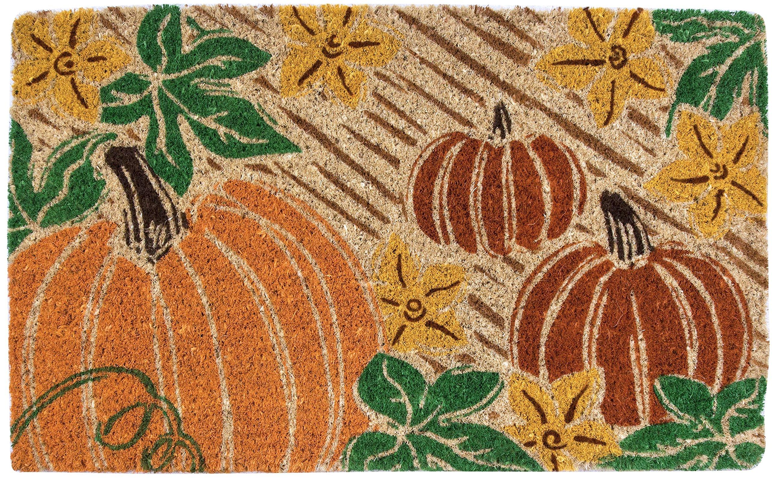 Entryways Pumpkin Patch, Hand-Stenciled, All-Natural Coconut Fiber Coir Doormat 18'' X 30'' x .75''