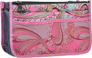 Vercord Purse Organizer Insert for Handbags Bag Organizers Inside Tote Pocketbook Women Nurse Nylon 13 Pockets Pink Flowers Large