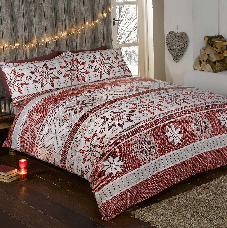 Stockholm Noël 100% Flanelle de Coton Motif Flocon de Neige de Noël Parure  de lit avec Housse de Couette et 2 Taie d oreiller Parure de lit, ... 506b9f1ee9dc