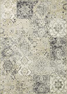 product image for Maples Rugs Vintage Patchwork Distressed 5 x 7 Non Slip Large Rug [Made in USA] for Living, Bedroom, and Dining Room, Grey