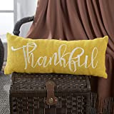 Embroidered Burlap Bench Pillow in Harvest Yellow Hue - Thankful