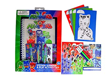 PJ Mask Stickers, Sketch Book, Coloring Board, Crayons, Markers & Fun Pad