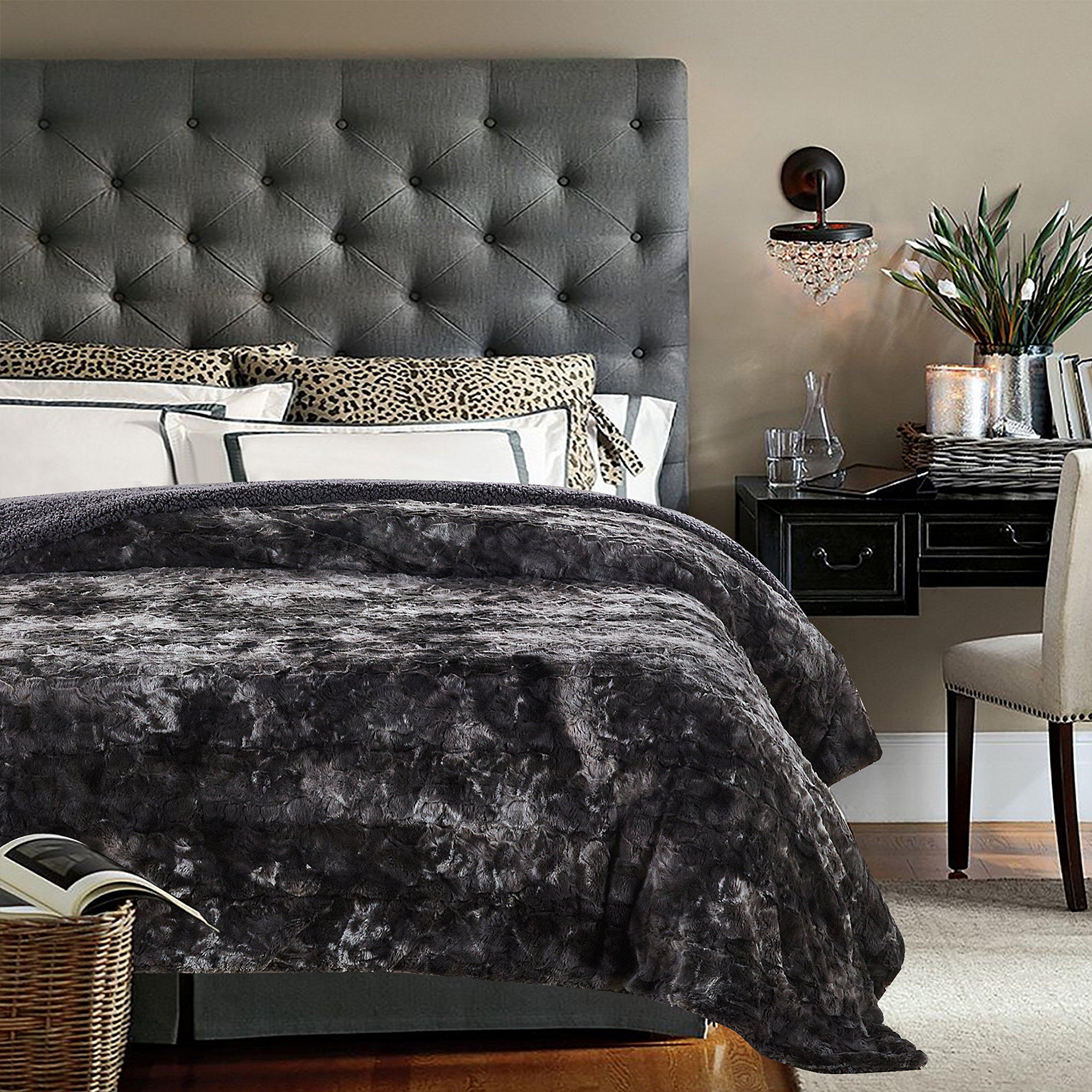 Chanasya Faux Fur Bed Throw Blanket - Super Soft Fuzzy Cozy Warm Fluffy Beautiful Color Variation Print Plush Sherpa Microfiber Gray Blanket (86''x108'') KING by Chanasya