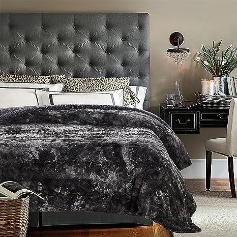 "Chanasya Faux Fur Bed Throw Blanket   Super Soft Fuzzy Cozy Warm Fluffy Beautiful Color Variation Print Plush Sherpa Microfiber Gray Blanket (86""X108"") King by Chanasya"