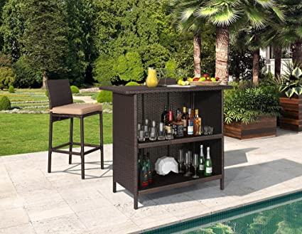Attrayant Ulax 3 Piece Patio Outdoor Backyard Wicker Bar Set With Table And Two Stools