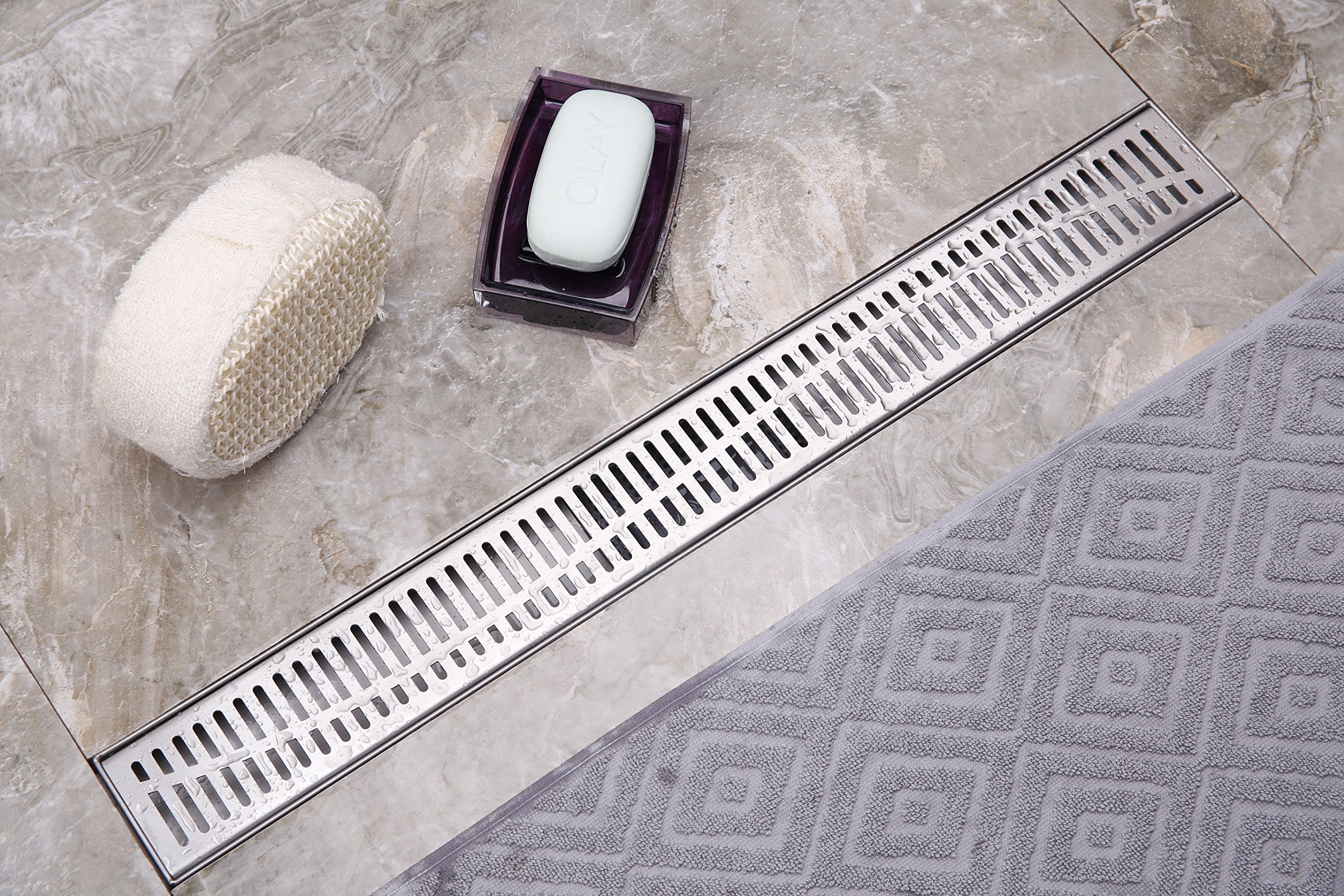Neodrain 24-Inch Linear Shower Drain with Removable Wave Pattern Grate,Brushed 304 Stainless Steel Rectangle Shower Floor Drain,Floor Shower Drain With Adjustable Leveling Feet, Hair Strainer