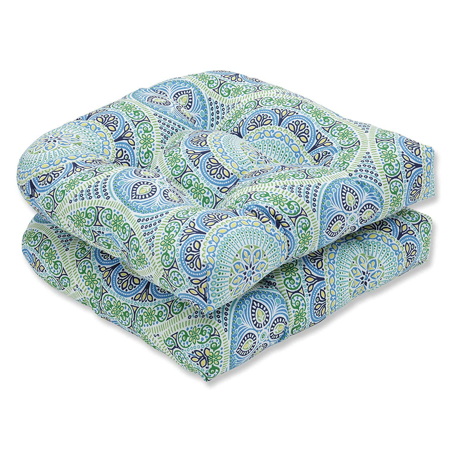Pillow Perfect Outdoor Indoor Delancey Lagoon Wicker Seat Cushion Set of 2 , 2 Piece