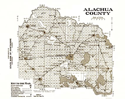 Alachua Florida Map.Amazon Com Old County Map Alachua Florida Kay 1936 23 X 28 98